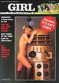 Naked, booted Katy Manning - Jo Grant in Dr Who - wrapped around a Dalek for a Girl Illustrated cover