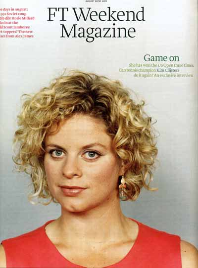 FT Weekend Magazine with tennis champion Kim Clijsters on the cover