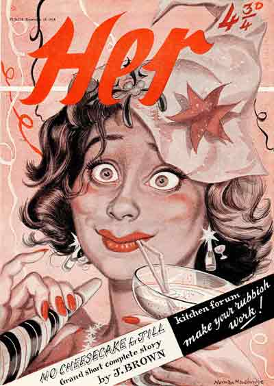 From Punch 155 Dec 1954: 'Her' a magazine spoof with spot colour by Norman Mansbridge