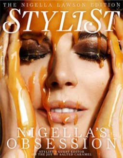TV chef Nigella Lawson has salted caramel poured over her head for a December 2011 Stylist cover