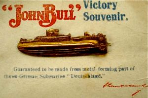 Victory souvenir from John Bull made of metal from a German U-boat