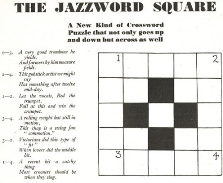 Experimental jazz crossword: Jazz word square from 1937 in Rhythm magazine (June)