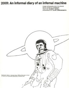 Opening of 5-page article on the set of 2001: A Space Odyssey with sketches by Clive Arrowsmith in Town magazine