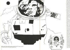 First spread of the Town magazine article shows one of the astronauts and the maintenance vehicle