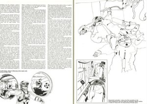 Final spread of the Town article shows a sketch of the frozen scientists that is similar to a sketch shown to HAL in 2001