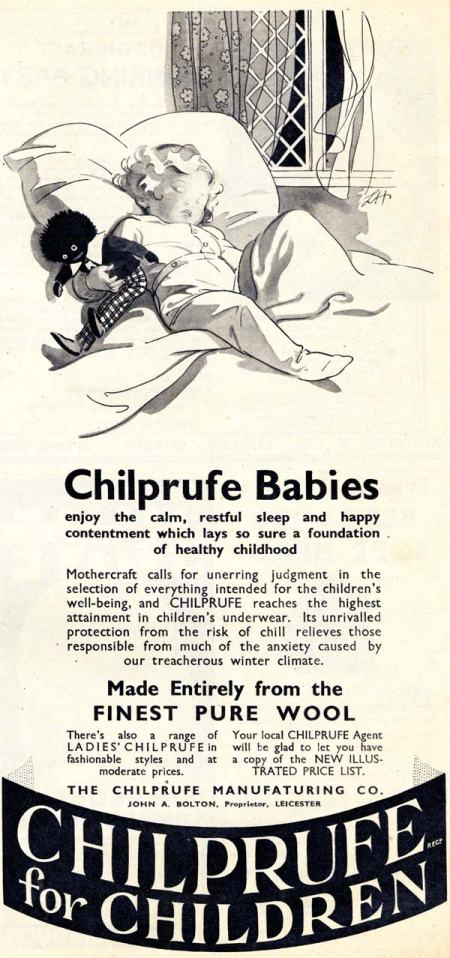 Lillian Hocknell advertising illustration for Chilprufe children's clothing. From Mother magazine 1936 – note the spelling error