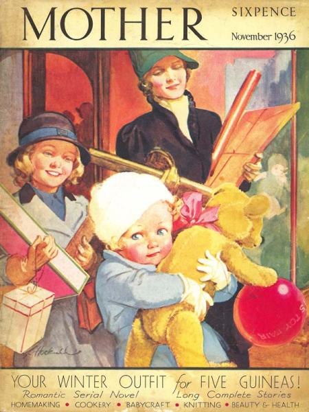 Mother magazine cover of child with toys by Lilian Hocknell from November 1936