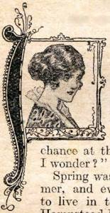 Illustrated drop capital from a page in Home Chat, one of the best-selling women's weeklies