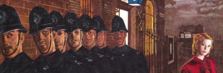 Detail from John Bull magazine cover of marching policemen with the Angel pub at Rotherhithe in the background