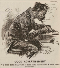 Harry Furniss cartoon from Punch that was later used by Pear's soap, one of the founders of modern advertising techniques, for its campaigns - included as  full-page in a Punch almanac