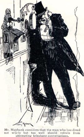 Thomas Maybank shows a drunk trying to call using a gong stick. He drew for Punch and did Oojah the elephant series in the Daily Sketch in the 1920s
