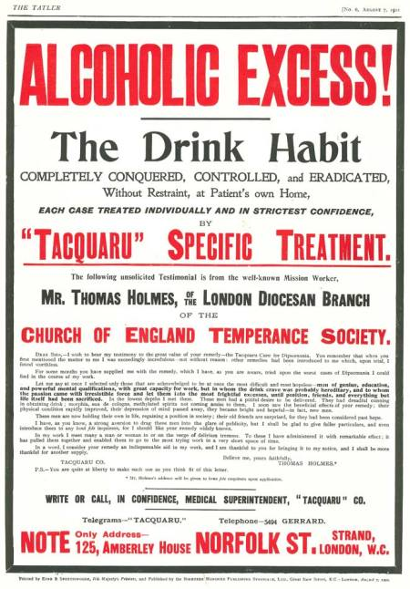 Back cover advert for Tacquaru supported by the Church of England Temperance Society