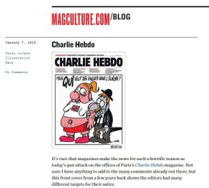 Magculture home page on Charlie Hebdo murders