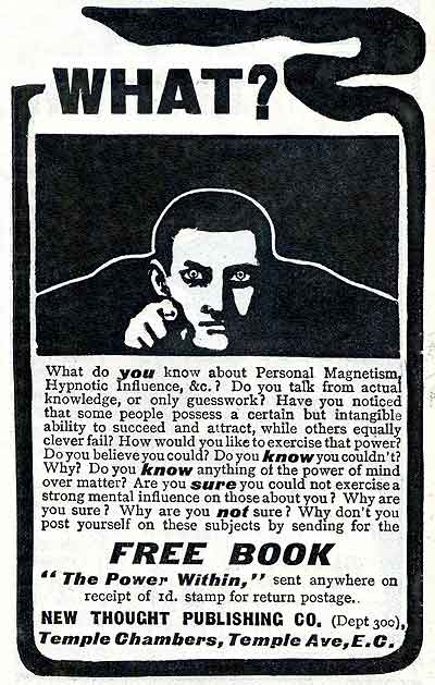 A pointing man in an advert from Pearson's magazine (June 1907)