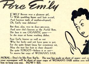 A Pore Em'ly poem in Woman's Fair preys on the beauty worries of its readers