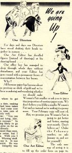 The editor of Woman's Fair blames wartime paper costs for the magazine's price rise