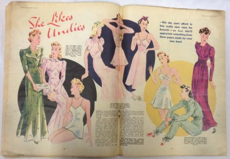 A Woman's Own centre spread from 1939 - 'She likes undies'