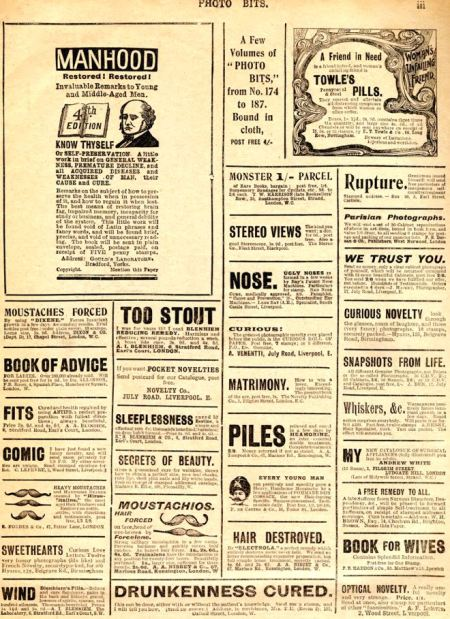 A long list of of Edwardian ailments from the classified advertising in Photo Bits magazine of 1902