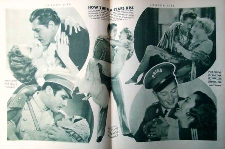 How film stars kiss from London Life 30 June 1934