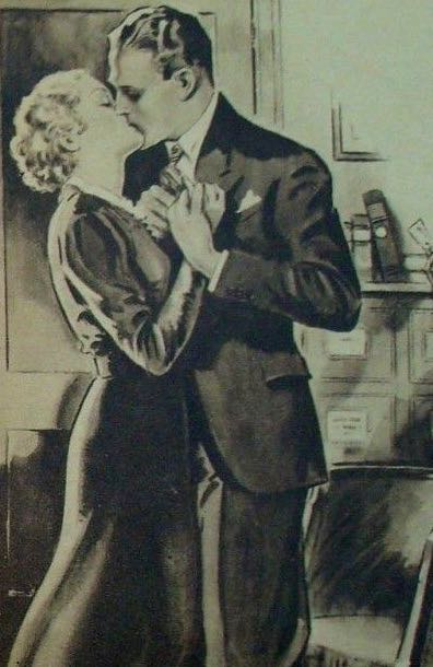 Detail of Woman's Friend romantic kiss illustration