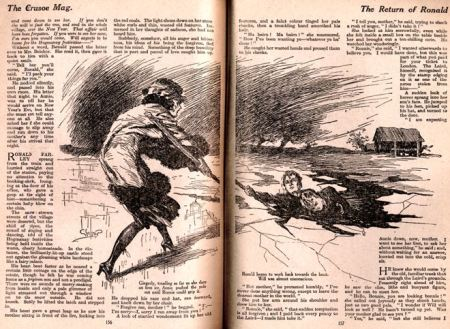 A spread from Crusoe with an illustration by Glossop