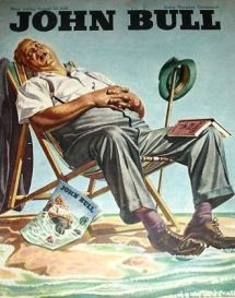 This 1946 holiday season cover from John Bull forecasts a web fate for the slumbering gent