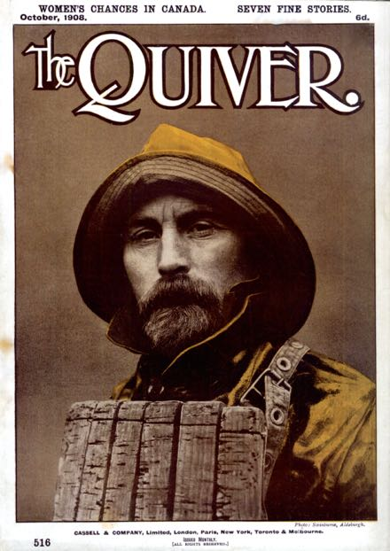 Lifeboatman in 1908 on the cover of Quiver magazine from a photograph by Swinburne, Aldeburgh