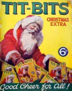 A 1929 Tit-Bits Christmas extra issue with Santa delivering the issue on which he is depicted