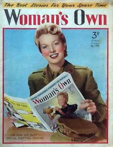 This photographic cover from 1941 shows the model reading another issue of Woman's Own