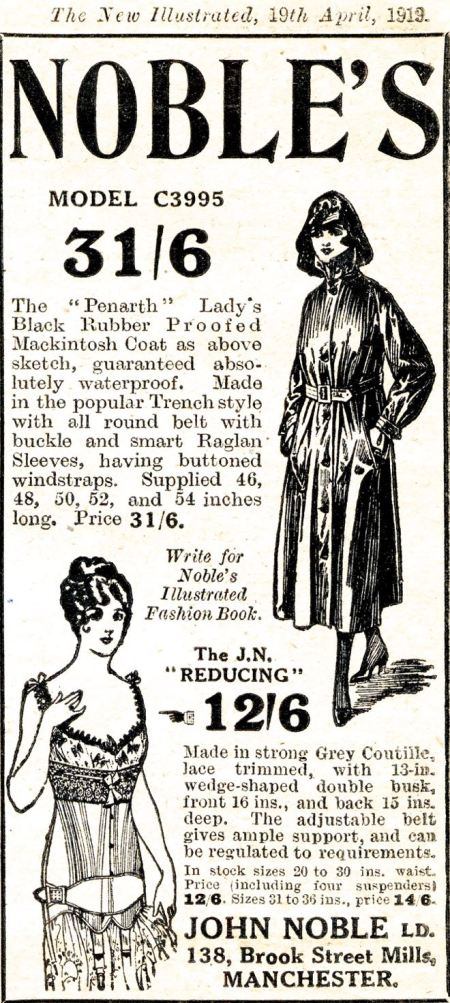 Advert for ladies' wear in the form of a rubber, trench-style Mackintosh and 'reducing' underwear at John Noble in Manchester from New Illustrated magazine