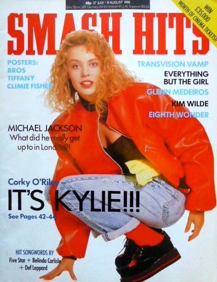 It's Kylie!!! Neighbours soap star Minogue is reborn as a pop star on her first cover for Smash Hits magazine in (7 July 1988)