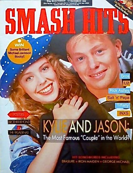 The best-selling issue of Smash Hits magazine on 30 November 1988  with Kylie Minogue  and Jason Donovan on the cover