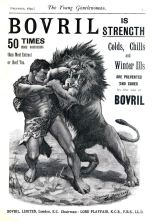 Bovril advert of Hercules fighting a lion by Stanley Berkeley from Young Gentlewoman magazine of 1892