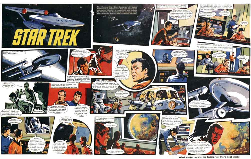 A colour centre spread of Star Trek by Harry Lindfield from Joe 90 . Click on the image to find a larger version on Beano cartoonist Nigel Parkinson's website