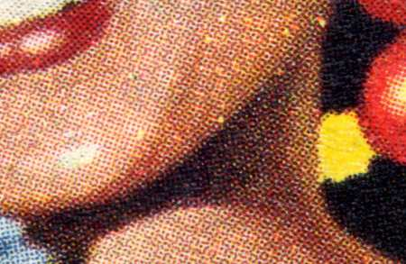 Detail showing dots of printed ink from the lower face of Blighty magazine cover in 1958