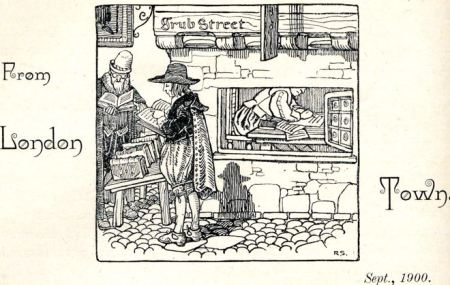 London's 18th century Grub Street as part of illustration showing literary hack