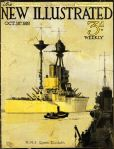 HMS Queen Elizabeth super dreadnought by Harry Hudson Rodmell on the cover of New Illustrated magazine (18 October 1919)