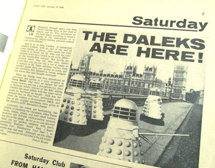 The Radio Times Dalek article showing the cyborgs on Westminster Bridge