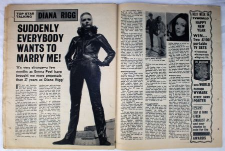 Emma Peel in one of her leather jumpsuits in a spread from TV World