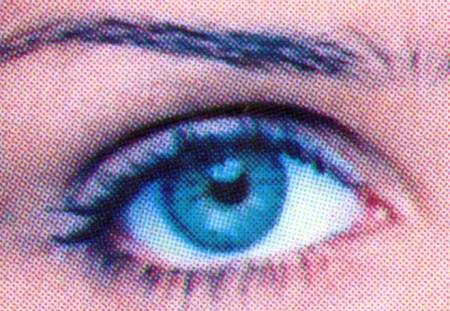 Detail of Helena Christensen's eye from the cover of Vogue in December 1993
