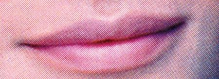 Detail of Helena Christiansen's lips from the Vogue cover