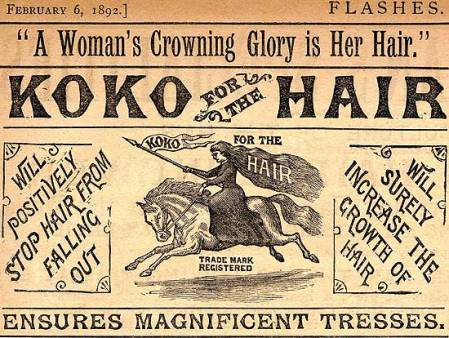 Koko: Victorian hair advertising from Flashes magazine in 1892
