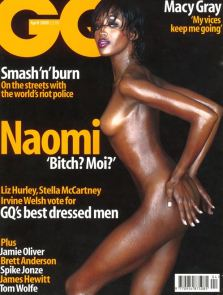 Cute cover-up: Naomi Campbell on the cover of GQ in April 2000