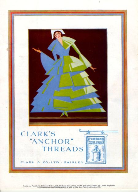 Colour advert for Clark's 'Anchor' thread on the back cover of Needlewoman