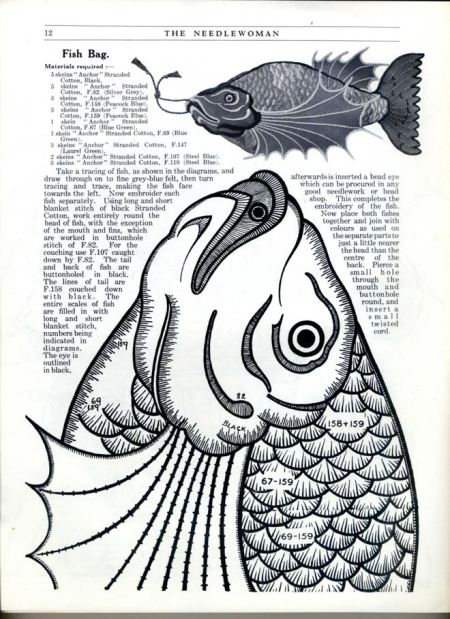 Needlewoman fish purse design from 1925
