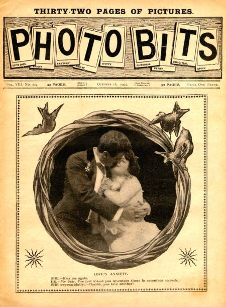 The cover of Photo Bits, October 18, 1902. Note the masthead in the form of letters on pinned-up cards