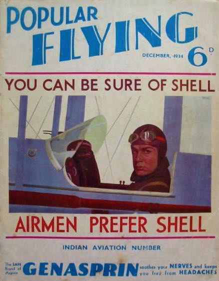 This Popular Flying cover from 1934 integrates the Shell advertising