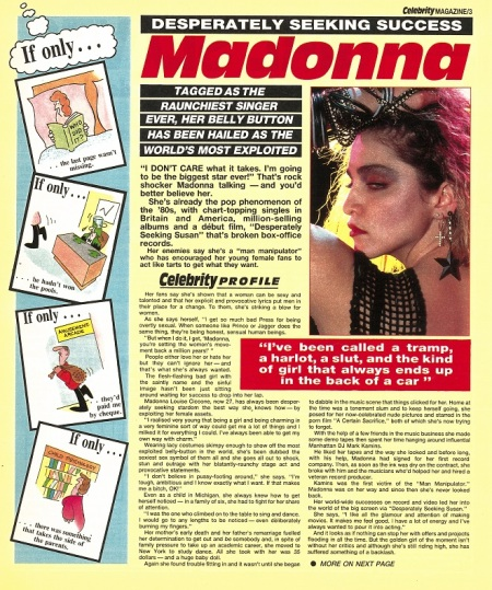 Madonna feature in the first issue of Celebrity Magazine in 1986