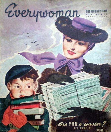 Recycling paper in the war, as shown on the cover of Everywoman magazine in January 1942