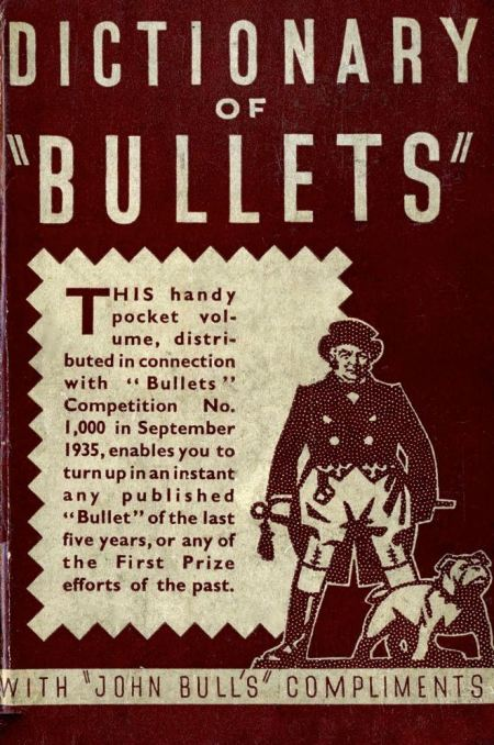 'Dictionary of Bullets' published by John Bull to mark the 1000th competition in 1935